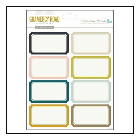 Gossamer Blue Large Label Stickers Gramercy Road Collection by One Little Bird