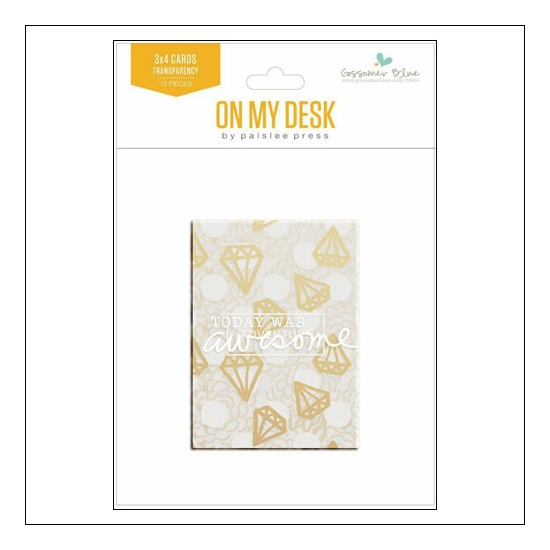 Gossamer Blue Gold Foil Transparency Cards 3x4 On My Desk Collection by Paislee Press