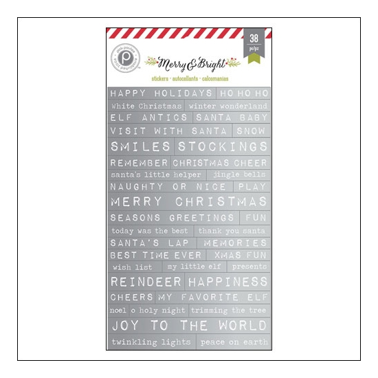 Pink Paislee Foil Word Sticker Strips Merry and Bright Collection