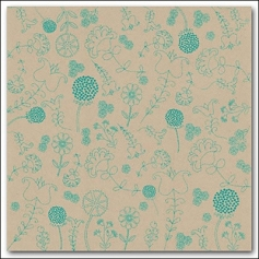 Hambly Screen Prints Kraft Paper Embroidery Teal Blue