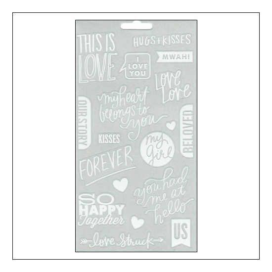 Me and My Big Ideas Sticks Clear Stickers White True Love