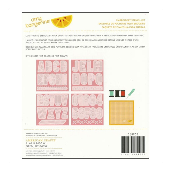 American Crafts Embroidery Stencil Kit Comrade Stitched Collection by Amy Tangerine