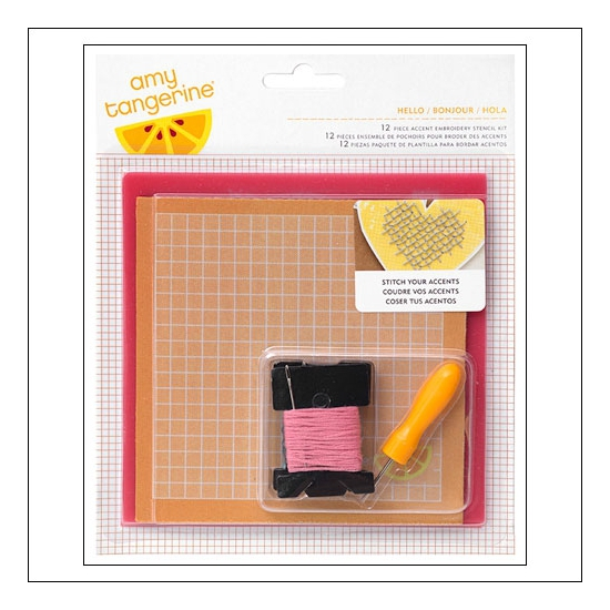 American Crafts Embroidery Stencil Kit Hello Stitched Collection by Amy Tangerine