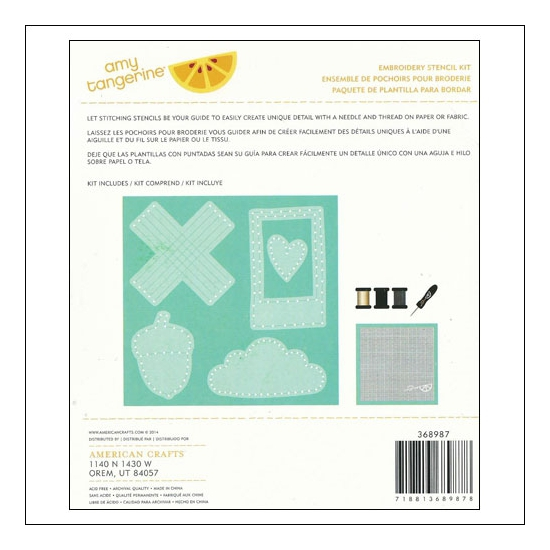 American Crafts Embroidery Stencil Kit Oxford Stitched Collection by Amy Tangerine