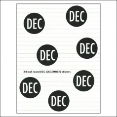 Scrapbook and More December Round Month Stickers Black With White Text