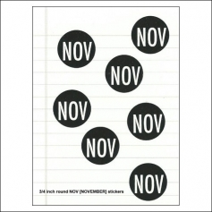 Scrapbook and More November Round Month Stickers Black With White Text