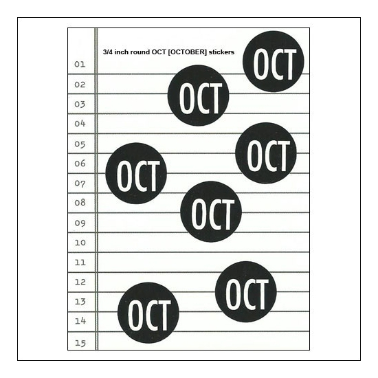 Scrapbook and More October Round Month Stickers Black With White Text