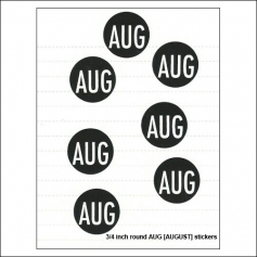 Scrapbook and More August Round Month Stickers Black With White Text