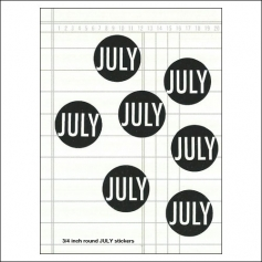 Scrapbook and More July Round Month Stickers Black With White Text