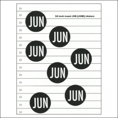 Scrapbook and More June Round Month Stickers Black With White Text