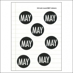Scrapbook and More May Round Month Stickers Black With White Text