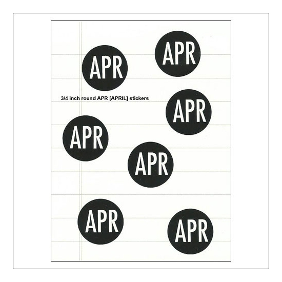 Scrapbook and More April Round Month Stickers Black With White Text
