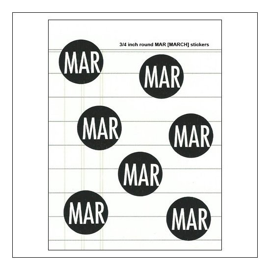 Scrapbook and More March Round Month Stickers Black With White Text