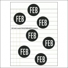 Scrapbook and More February Round Month Stickers Black With White Text