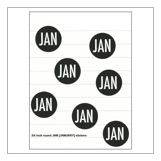 Scrapbook and More January Round Month Stickers Black With White Text