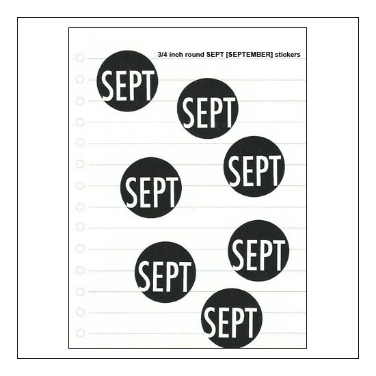 Scrapbook and More September Round Month Stickers Black With White Text