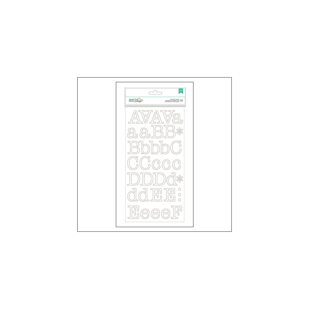 American Crafts Large Alphabet Stickers White Typewriter DIY Shop 2 Collection