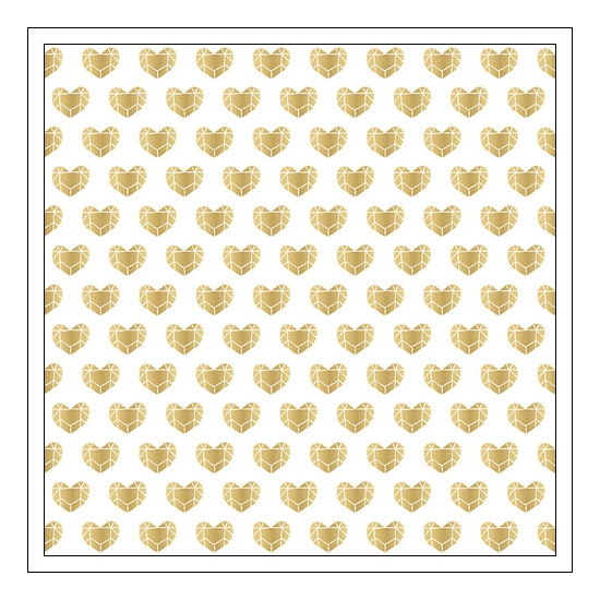Crate Paper Specialty Vellum Paper Sheet Gold Foil Hearts Kiss Kiss Collection