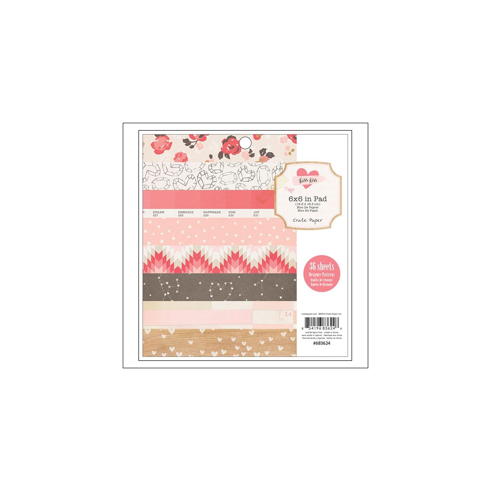 Crate Paper Paper Pad 6x6 Kiss Kiss Collection