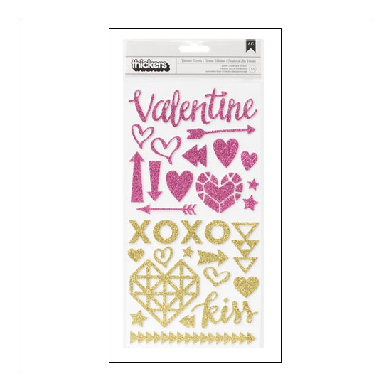Crate Paper Thicker Stickers Glitter Foam Valentine Accents Kiss Kiss Collection