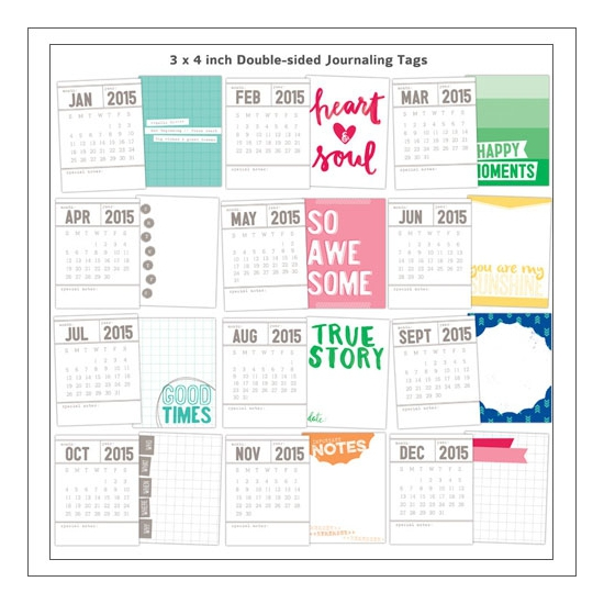 Elles Studio Doube Sided Calendar Tags Hello 2015 Collection