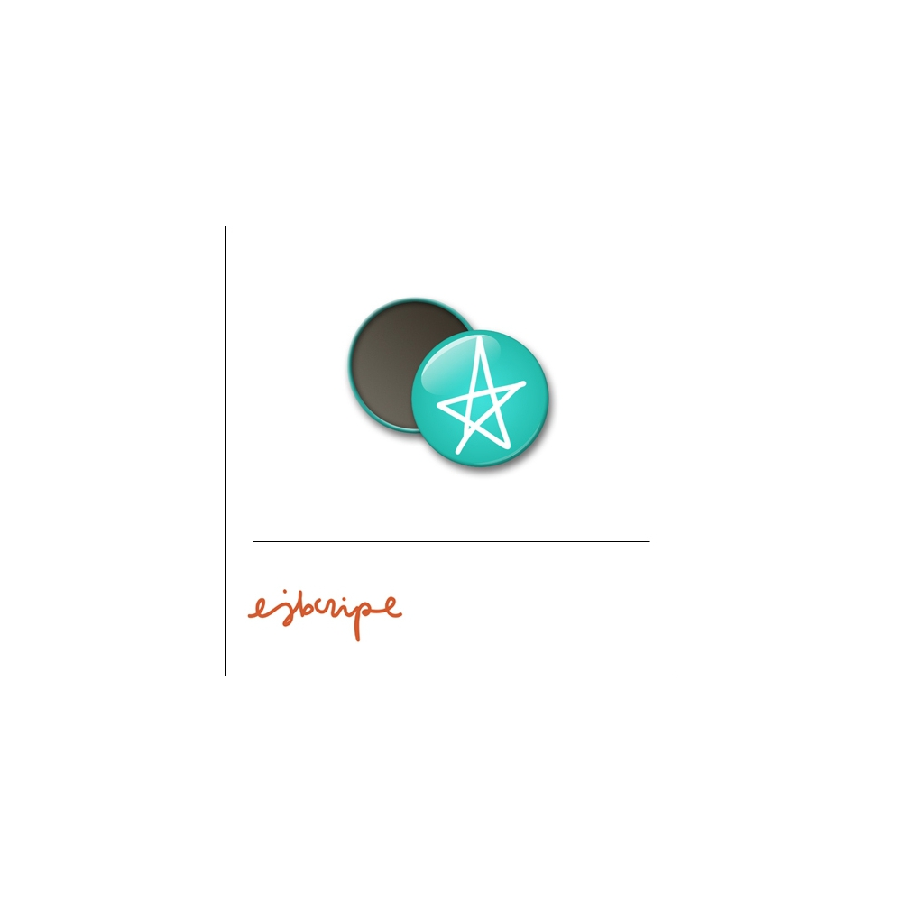 Scrapbook and More 1 inch Round Flair Badge Button Teal Star by Elise Blaha Cripe