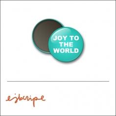 Scrapbook and More 1 inch Round Flair Badge Button Teal Joy To The World by Elise Blaha Cripe