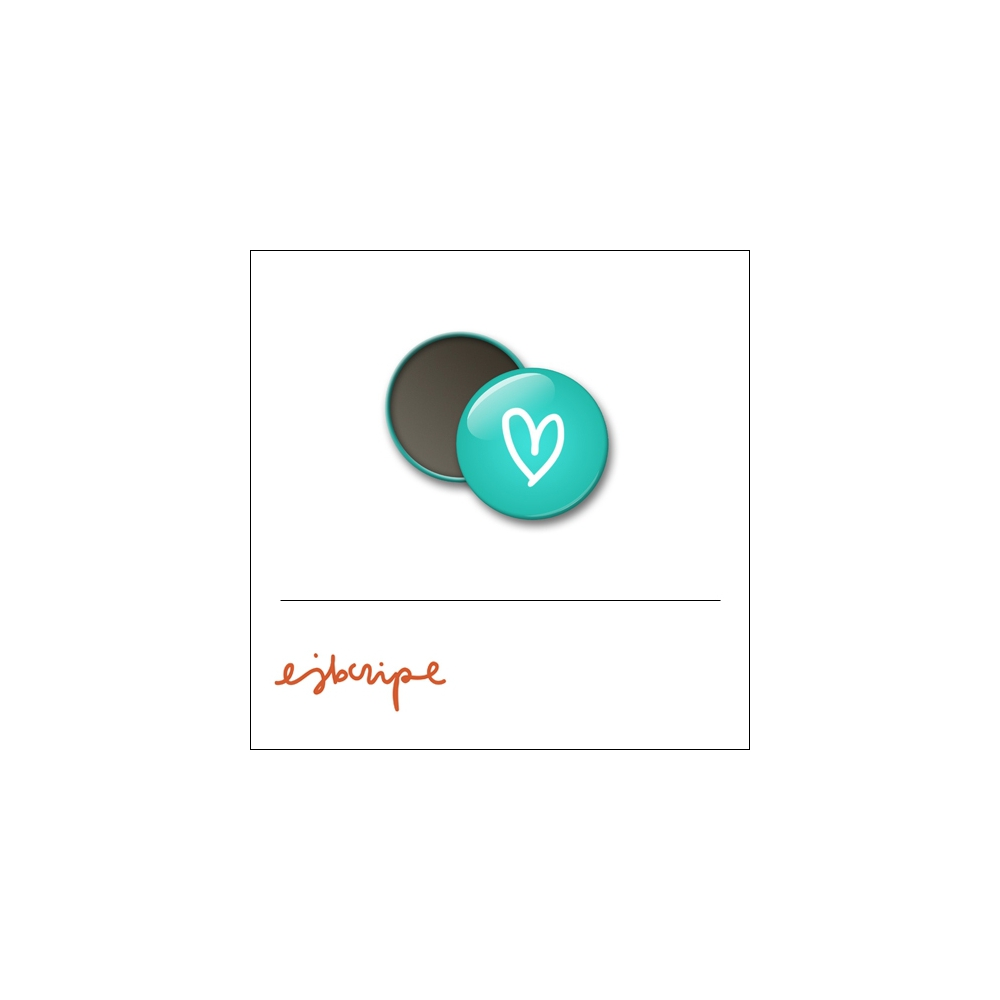Scrapbook and More 1 inch Round Flair Badge Button Teal Heart by Elise Blaha Cripe