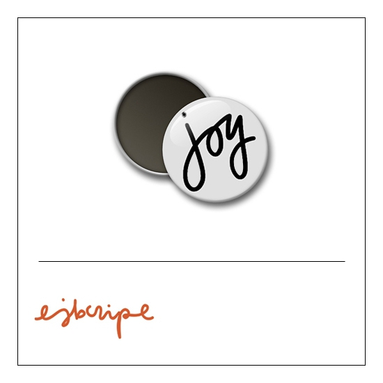 Scrapbook and More 1 inch Round Flair Badge Button White Joy by Elise Blaha Cripe