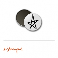 Scrapbook and More 1 inch Round Badge Button White Star by Elise Blaha Cripe