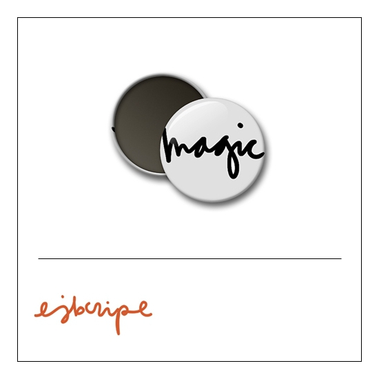 Scrapbook and More 1 inch Round Flair Badge Button White Magic by Elise Blaha Cripe
