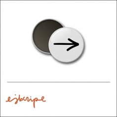 Scrapbook and More 1 inch Round Flair Badge Button White Arrow by Elise Blaha Cripe