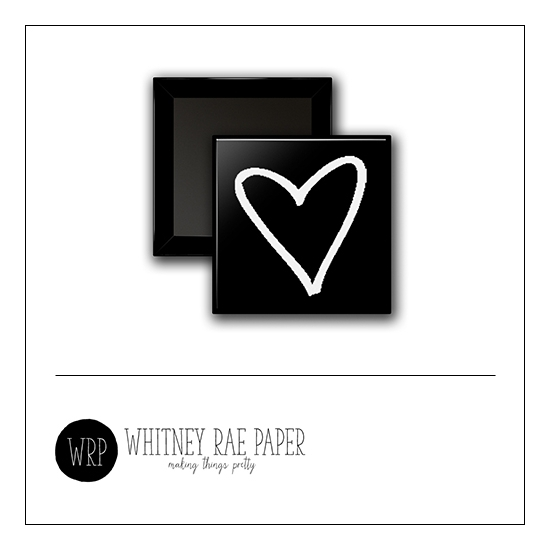 Scrapbook and More 1 inch Square Flair Badge Button Black Heart by Whitney Davis