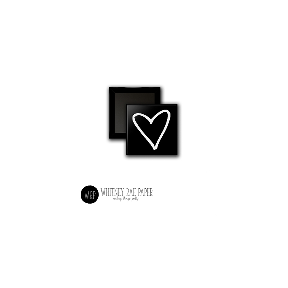 Scrapbook and More 1 inch Square Flair Badge Button Black White Heart by Whitney Davis