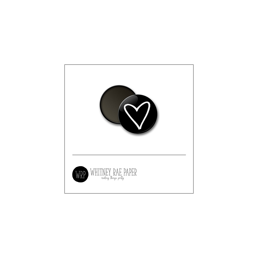 Scrapbook and More 1 inch Round Flair Badge Button Black Heart by Whitney Davis
