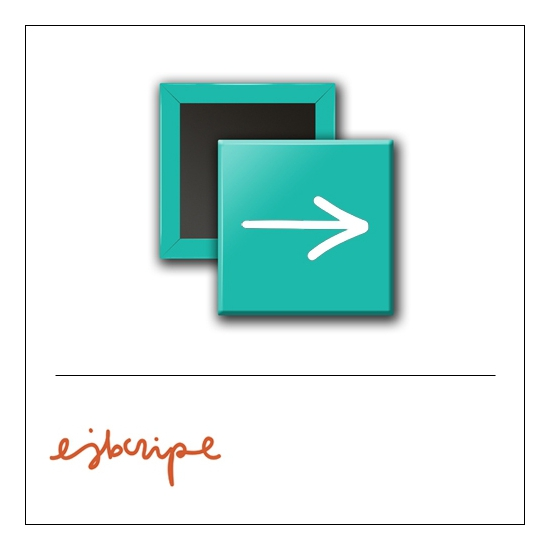 Scrapbook and More 1 inch Square Flair Badge Button Teal Arrow by Elise Blaha Cripe