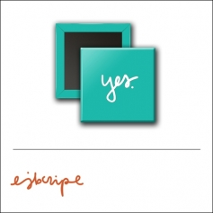 Scrapbook and More 1 inch Square Flair Badge Button Teal Yes by Elise Blaha Cripe