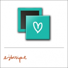 Scrapbook and More 1 inch Square Flair Badge Button Teal Heart by Elise Blaha Cripe