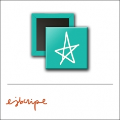 Scrapbook and More 1 inch Square Flair Badge Button Teal Star by Elise Blaha Cripe