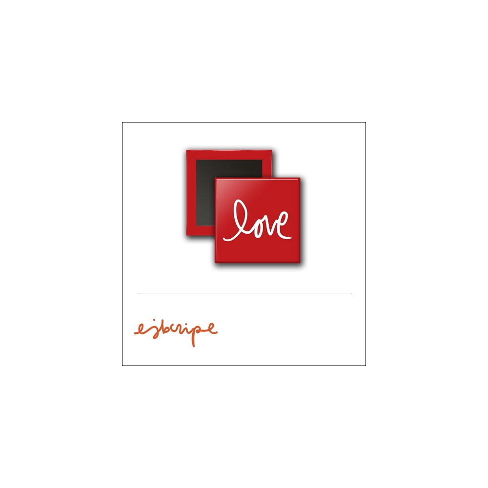 Scrapbook and More 1 inch Square Flair Badge Button Red Love by Elise Blaha Cripe