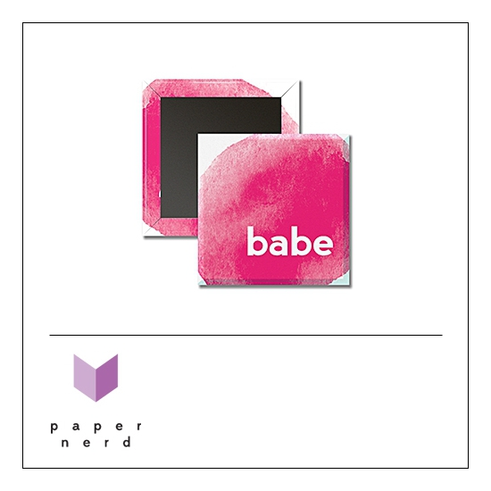 Scrapbook and More 1 inch Square Flair Badge Button Babe by Nina Christensen