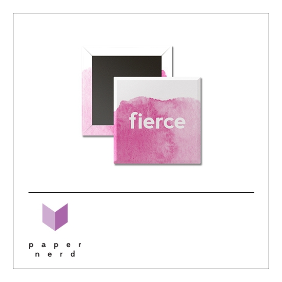Scrapbook and More 1 inch Square Flair Badge Button Fierce by Nina Christensen