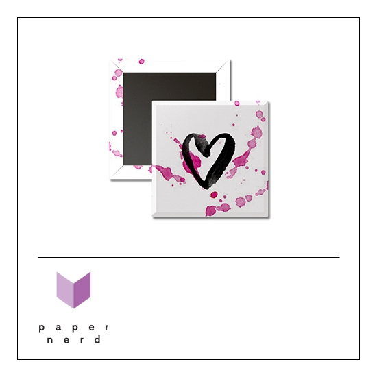 Scrapbook and More 1 inch Square Flair Badge Button Heart by Nina Christensen