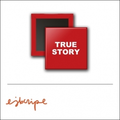 Scrapbook and More 1 inch Square Flair Badge Button Red True Story by Elise Blaha Cripe