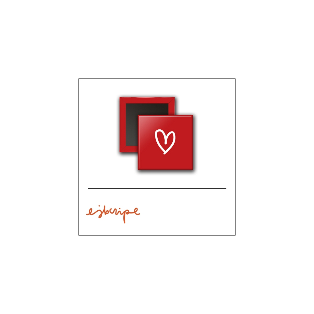 Scrapbook and More 1 inch Square Flair Badge Button Red Heart by Elise Blaha Cripe
