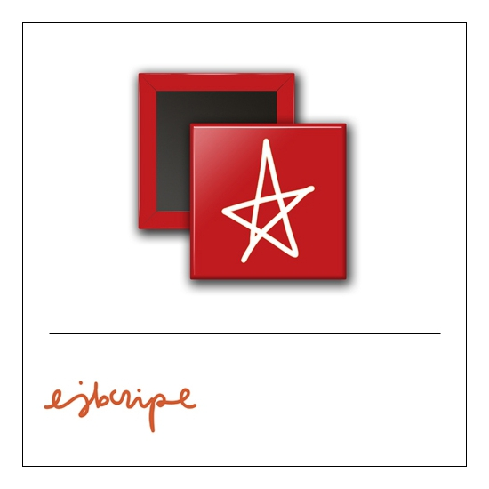 Scrapbook and More 1 inch Square Flair Badge Button Red Star by Elise Blaha Cripe
