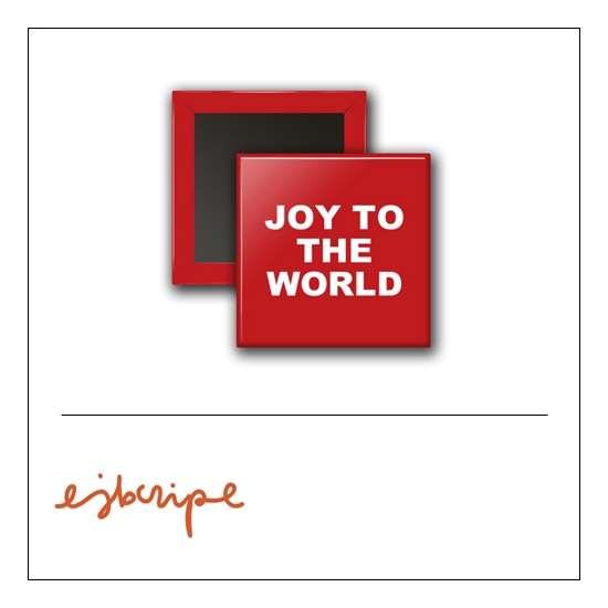 Scrapbook and More 1 inch Square Flair Badge Button Red Joy To The World by Elise Blaha Cripe