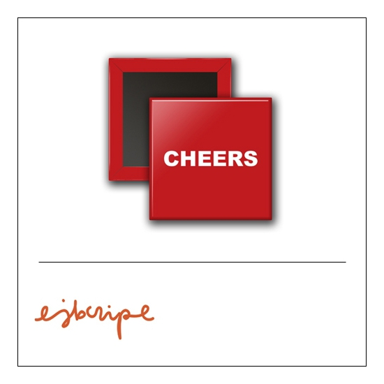 Scrapbook and More 1 inch Square Flair Badge Button Red Cheers by Elise Blaha Cripe