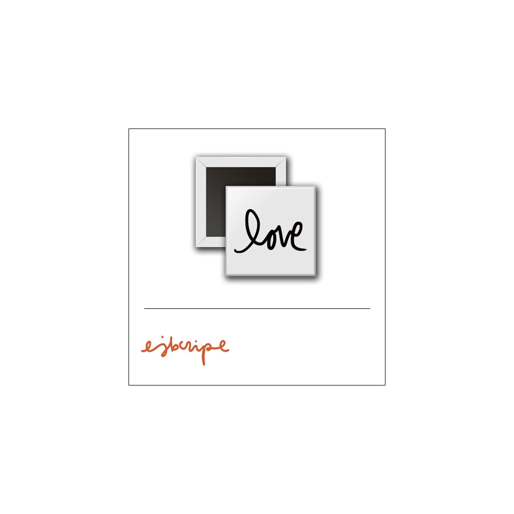 Scrapbook and More 1 inch Square Flair Badge Button White Love by Elise Blaha Cripe