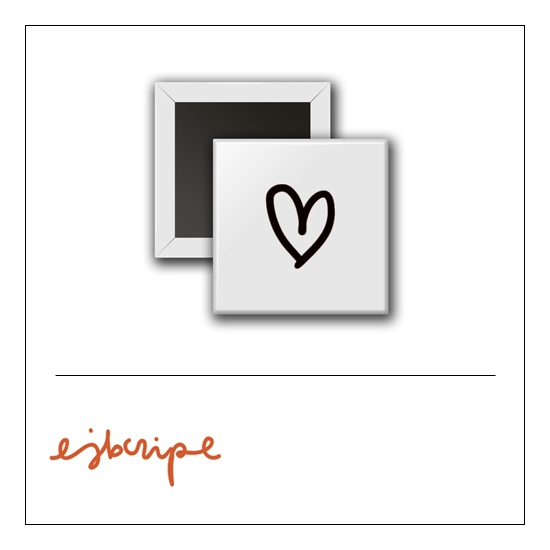 Scrapbook and More 1 inch Square Flair Badge Button White Heart by Elise Blaha Cripe